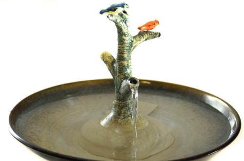 """Cardinal & Blue Jay On a Tree"" Stream Fountain. Note, both birds are removable and can be swapped.  - $220"