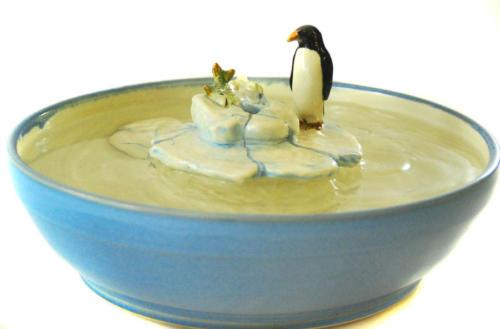 """""""Penguin & Fish On Ice Floe"""" Bubble-up Fountain - $260"""