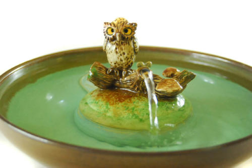 """Owl On A Log"" Stream Fountain - $245"