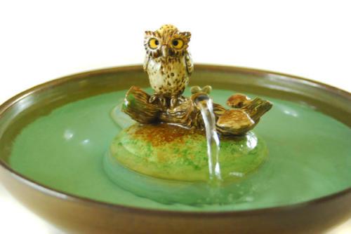 """""""Owl On A Log"""" Stream Fountain - $295"""
