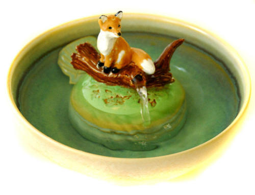 """Red Fox On a Log"" Stream Fountain $395"