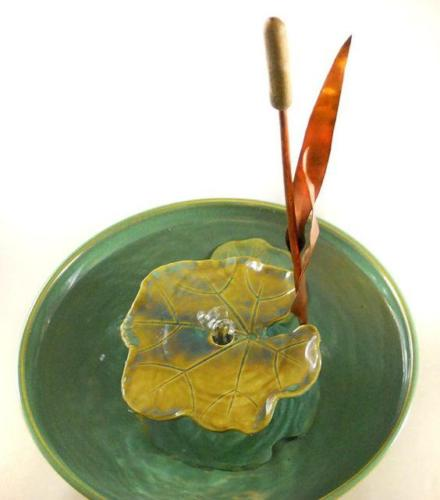 """Single Cattail With Waterlily Leaf"" 99.9% Pure Copper and Ceramic Cattail - Complete Bubble-up Fountain -"