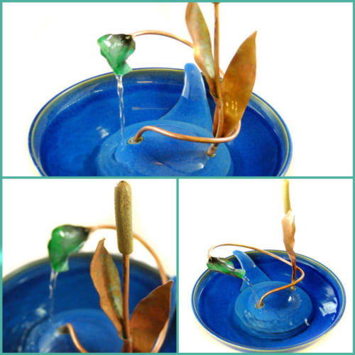 Cattail With Enameled Waterleaf. (Enamel is glass fused to metal - here to copper). - Stream Fountain