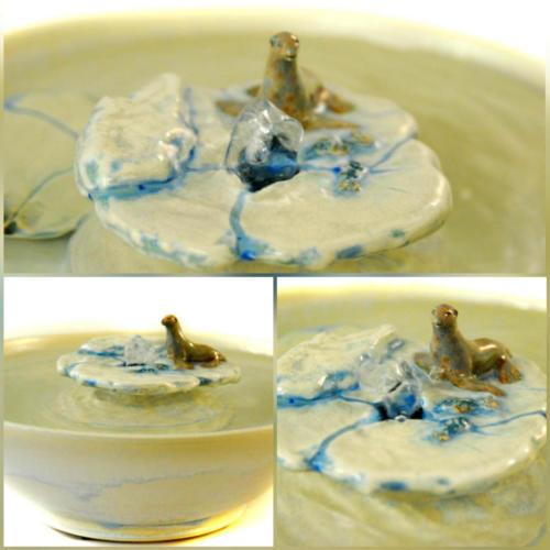 Sea Otter On Ice Floe- Bubble-up Fountain - $250
