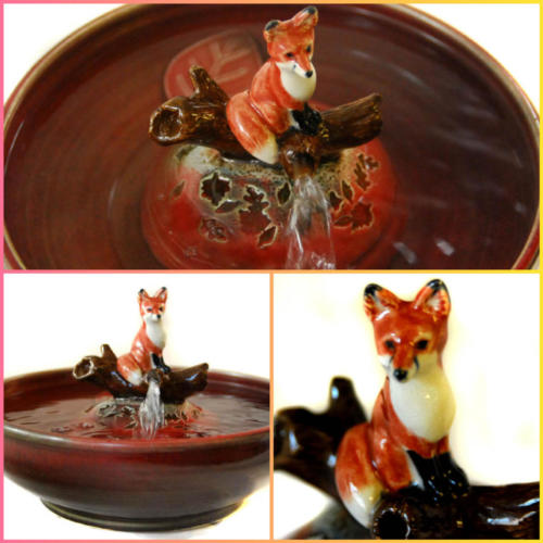 Red Fox in Autumn - Stream Fountain - $385