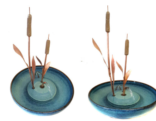 """Cattails With A Serenity Flow"""" - Stream Fountain - Handmade of two copper and ceramic cattails - Shown are two views of the same fountain. Included are the complete fountain in your choice of glazes."""
