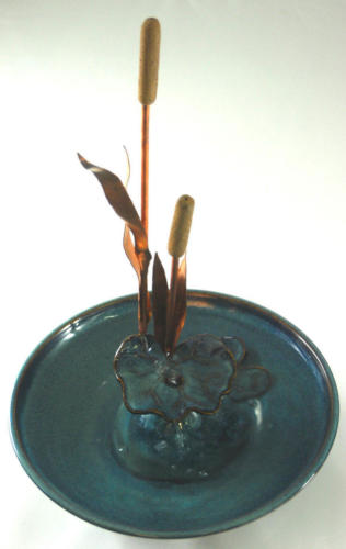 """""""Cattails With a Waterlily Leaf"""" - Raised Bubble-up With Low Streams"""